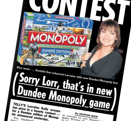 Lorriane Kelly scoops top prize in a beauty contest for a Dundee edition on Monopoly